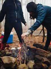 Whit & Izzy (BurlapZack) Tags: camping oklahoma fog forest fire hoodie sticks woods getaway flames foggy spooky campfire flame mysterious teepee build ok firepit cowboyboots campingtrip ouachitanationalforest roughingit windingstairmountain survivalskills girlfire glamping panasonicleicadgsummilux25mmf14 campvibes vscofilm olympusomdem5 vision:outdoor=0785