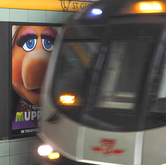 Near Miss (BruceK) Tags: toronto subway ttc muppets stgeorge misspiggy muppetsmovie