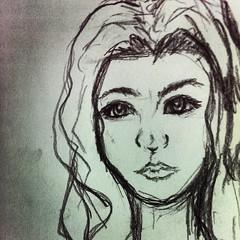 อยากมีลายเส้นเป็นของตัวเอง ชอบวาดผู้หญิงตาโตหน้าเศร้า . เส้นมั่ว .= = #drawingtime