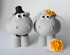 Hippo Wedding Cake Topper (fliepsiebieps_) Tags: wedding cute penguin penguins couple moose figurines clay hippo caketopper custom hippos caketoppers fliepsiebieps