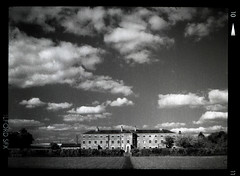 The Workhouse at Southwell (pho-Tony) Tags: camera old red sky blackandwhite bw cloud 3 120 film vintage dark ir 645 skies f45 made filter 1950s infrared roll british medium format halfframe veteran ilfordsfx nationaltrust bellows folder ilford folding epsilon ensign redfilter darksky sfx 145 1620 darkskies 75mm ilfosol fauxinfrared sfx200 ilfordsfx200 anastigmat 45x6 6cm selfix ensar 45cm britishmade ensignselfix1620 ilfosol3 45cmx6cm