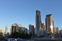 Seattle skyline from Yesler Way (SounderBruce) Tags: seattle skyline buildings skyscrapers i5 freeway interstate smithtower interstate5 expresslane seattlemunicipaltower columbiacenter reversiblelane