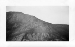 monument in the mountains (William Keckler) Tags: blackandwhite mountain mountains monument nature strange vintage landscape found weird fifties random retro odd 1940s anonymous oldphotos fleamarket forties bizarre foundphotos strangephoto oldblackandwhite vintagelandscape anonymousphotos fortieslandscape