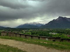 View from the Mnchsberg just before an onset of bad weather (echumachenco) Tags: salzburg rain wall austria sterreich may mai hdr regen mauer untersberg mnchsberg leopoldskron tennengebirge hohergll richterhhe iphone5 ringexcellence uploaded:by=flickrmobile flickriosapp:filter=nofilter