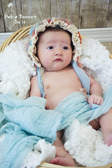 Sparkley Eyes (reefbubbles) Tags: baby girl aqua crochet ivory ribbon trim bonnet coralorange putabonnetonit