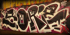 Black and Pink. (Optimu$ CrimE) Tags: nyc pink usa black brooklyn graffiti weed letters style tunnel graff 3ess sorie sorie420