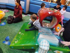 Sliiiiiiide! (Marina A. Miller) Tags: baby alex rain marina mall shopping fun day play rainy burnaby meredith brentwood angelyna tarya