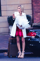 Stopping traffic (Simondipity) Tags: road red woman white beautiful high dress cab taxi coat sydney luggage blonde heels bags hailing