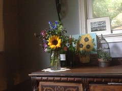 2013-06-10 18.18.02 (adventurediva) Tags: flowers home diningroom sunflower vase floralarrangement decor iphone