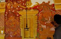 Artist Finishing Mural of Lord Ganesha on  the Temple Wall.. (-Reji) Tags: canon temple ganesha mural may13 vinayaka ganapati lordganesha kottayam g9 muralcity thirunakkara rejik ganeshakovil vignewara