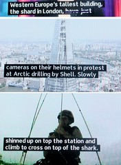 2013_07_120013 climbing the shark (Gwydion M. Williams) Tags: uk greatbritain england funny britain humor shell greenpeace humour shard subtitles captions subtitle misprint misprints