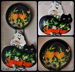 Time for Pumpkinfun! (MissyPenny) Tags: wood art halloween blackcat acrylic terracotta ghost pumpkins sunflowers handpainted decor pdlaich missypenny