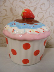 Cupcake Trinket Jar (John Lewis) (**Cupcake Boutique**) Tags: pink blue ceramic cupcakes strawberry chocolate polkadots jar johnlewis redandwhite trinket multicolouredsprinkles
