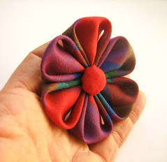 Jewel Tone Kanzashi Ponytail Flower (empressbarrettes) Tags: girls floral fashion japanese women designer handmade flor teens style boutique indie handcrafted empress accessories etsy elegant dressy hairpiece accessory accesory barrettes kanzashi acessorios hairflower tsumamikanzashi hairfascinator empressbarrettes jeweltonekanzashi