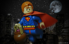 Bob's Halloween Outing! (Automaton Pictures) Tags: halloween toy fan costume candy lego or bob super superman hero superhero goes trick minifig automaton krypton minifigure picturres treating autopic legography ewokologist