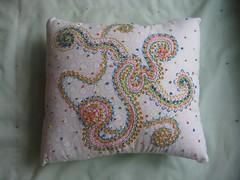 rainbow swirl hand embroidered pillow (TheGirlintheLane) Tags: white rainbow colorful handmade sewing small pillow swirl dots stitched embroidered sewn