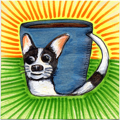 I drew you my Dodger mug of coffee (bortwein75) Tags: food chihuahua color colour art coffee illustration pen ink fun flickr drink drawing rip internet humor beverage mug series oddities highlighters dodger whiteout markers postitnote bortwein