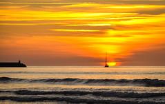 Sailing at sunset (David Samperio) Tags: sunset sea sun spain sailing cantabria sanvicentedelabarquera davidsamperiocom davidsamperio