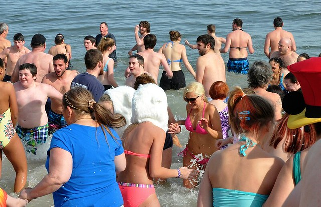 Participants didn't seem to mind the almost-freezing water.