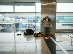 religion and politics (Mark Panszky) Tags: turkey reading newspaper airport muslim islam prayer istanbul donotenter attaturk