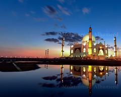 Fatima Zahra Mosque (dawey [Mohammad Alhameed]) Tags: street longexposure blue sunset sky orange cloud reflection nature water colors landscape photography nikon muslim mosque arabic kuwait nikkor dawey nikond800e nikon1635mmf4gedvriiafs cloudyporn workshopdaweyq8