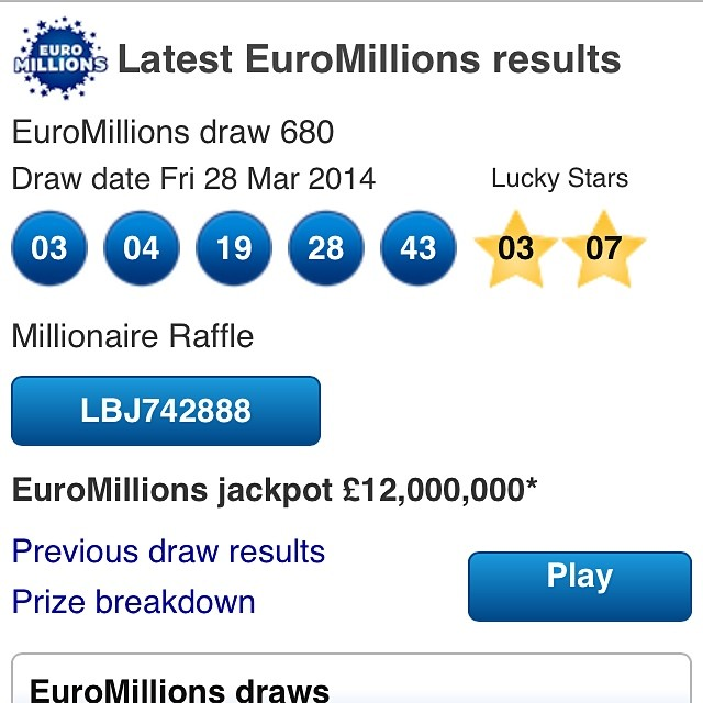 EuroMillions Results - Euromillions results for Tuesday 3rd