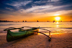Sunset at White Beach, Boracay, Philippines (syukaery) Tags: trip travel sunset vacation seascape tourism silhouette boats golden nikon asia warm fuji dusk 28mm philippines vessel explore velvia d750 boracay southeast nikkor visayas paraw aklan vsco vscofilm