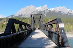 Engine Bridge over the Bow River (Canmore, Alberta) (cmh2315fl) Tags: canada alberta banff railroadbridge canmore cpr bowriver canadianrockies canadianpacificrailway trussbridge canadianbridge throughtruss thrutruss whippletruss whipplethroughtruss