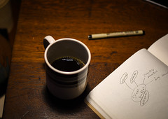 Java Synergy (medwar804) Tags: coffee mug cup table shadow wood work notebook writing pen words ideas