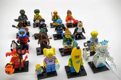 LEGO Minifigures Series 16 (Evan Didier) Tags: lego minifigure series16 71013 arabianknight babysitter bananaguy cutelittledevil cyborg dogshowwinner hiker icequeen kickboxer penguinboy rogue scallywagpirate serenader spookyboy spy wildlifephotographer
