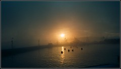 Wintersun in the fog (Marie Helèn) Tags: winter sun fog sunset harbour boats icecold sweden seaside seascape landscape nofilter travel