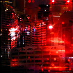 Red Light District (Lemon~art) Tags: red light city traffic carredlights rain buildings raindrops photocomposite manipulation texture black monotone bus night queue london bangkok