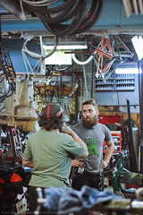 Steve & Tom (Caitlin Magarity Photography) Tags: blue moon philadelphia beer shop work bikes bicycles crew production filming bluemoon bilenky dbg bilenkycycleworks