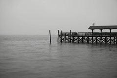 Lonely Pier (Mark Alexander PhotoG) Tags: classic water pier blackwhite fishing cloudy jersey depressed lonely keyport markalexanderphotography