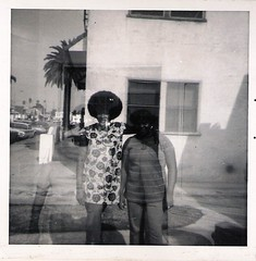 A strange double exposure I  like. Are they really there? (912greens) Tags: friends fashion africanamericans 1960s hairstyles streetscenes exteriors doubleexposures folksidontknow