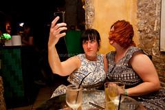 Self Portrait Preparation (Dave G Kelly) Tags: barcelona camera travel vacation holiday selfportrait spain holding women dress posing catalonia espana smartphone takingapicture twowomen traveldestinations 2013