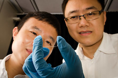 NTU Asst Prof Wang Qijie, 34, and lead author PhD student Liu Tao, 29, looking at their newly designed nanostructured graphene (Lancefury) Tags: camera sensor graphene wangqijie