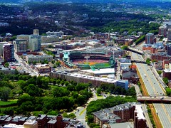 Boston (West facing view of Fenway Park,during a Red Sox versus Angels game,from the Prudential Tower) (Netty 78) Tags: usa boston america cityscape baseball stadium massachusetts redsox newengland aerial turnpike fenwaypark ballpark prudentialtower 2013