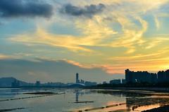 sunset at Shenzhen Bay (Horizon616) Tags: sunset bay nikon dusk shenzhen 日落 d800 深圳灣