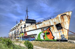 Paint Your Wagon (Mortarman101) Tags: streetart art coast boat rust paint ship maritime hdr northwales mostyn dukeoflancaster funship fflintshire dudug