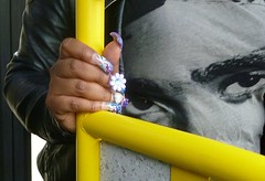 nail bling (helenoftheways) Tags: uk london freeassociation eyes hands lewisham tshirt nails onthebus falsenails nailbling