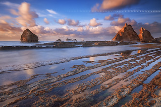 Sunset to Diagonal Rocks at Playa de Arnia, Liencres #3 ( Cantabria ~ Spain )