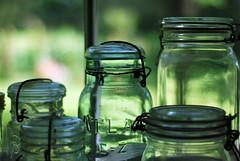 mason jar (thisemily) Tags: summer green window glass 50mm bokeh atlas thrifting yardsales 50mmf18 masonjars balljars