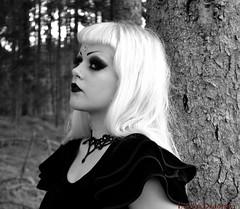 Black Celebration 6 (ViolaWhimsical) Tags: wood portrait white black forest self dark hair amazing long heart princess secret magic gothic profile goth deep velvet pearls blonde mystical mode rhinestone magical depeche faerie choker enchanted whimsical bolero sateen