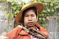 7511 Kalaw market woman (Mishel Breen) Tags: woman hat colorful market traditional clothes myanmar burmese kalaw