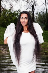 Pocahontas is a wet, white dream (Wet and Messy Photography) Tags: woman white lake wet water girl hair shower joy longhair splash pocahontas wethair soaked wetlook wetdress