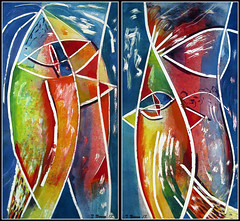 Birds of Paradise (Tim Noonan) Tags: holiday art birds ink painting colours shapes fabriano awardtree maxfudgeawardandexcellencegroup