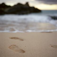 Secret Cove (Wendi Andrews) Tags: ocean sunset sea film beach island hawaii sand tide footprints maui hasselblad pacificocean secretcove makenacove