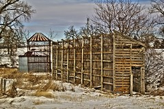 Empty Cribs (Images by MK) Tags: snow rural canon wooden corn farm steel empty farming harvest hdr corncrib photomatix photomatixpro t2i