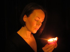 Contemplation (NaturesPoetry) Tags: selfportrait candle darkness candlelight meditation contemplation canong12